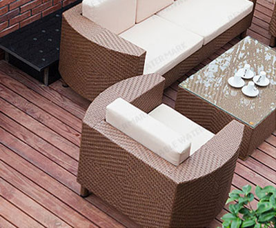 Log outdoor connecting double chairs